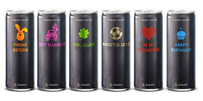 Individuelle Dosengestaltung mit Energy Drink 28 BLACK