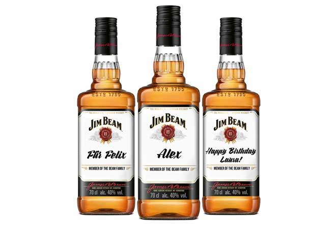 Personalisierte Etiketten für Jim Beam Whiskey