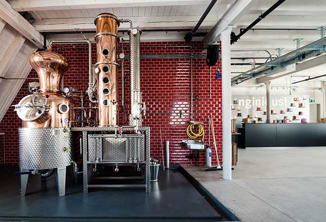 Blick in die neue Distillerie von nginious! in Basel.